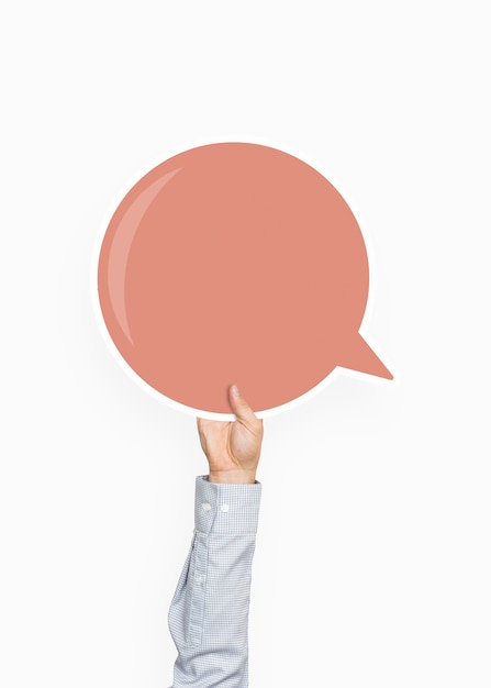 Hand holding a speech bubble graphic Premium Psd