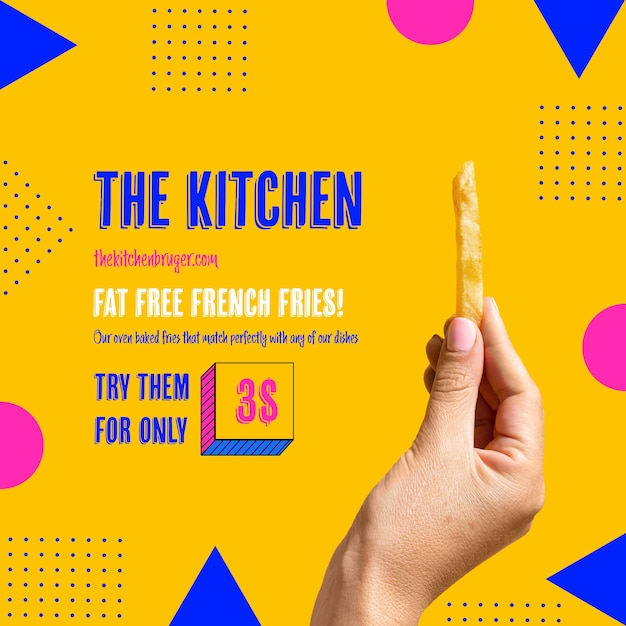 Hand holding tasty french frie template Free Psd