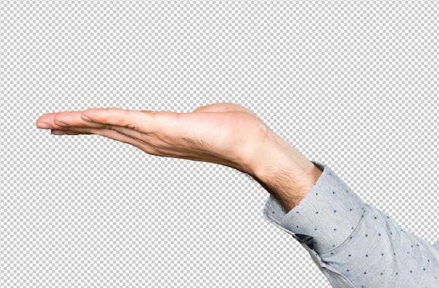 Hand of man holding something Premium Psd