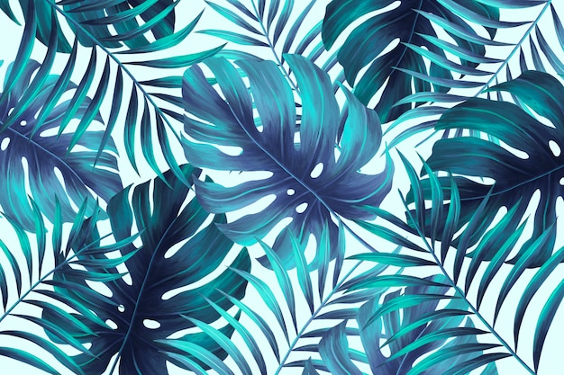 Hand painted summer print with tropical leaves Free Psd