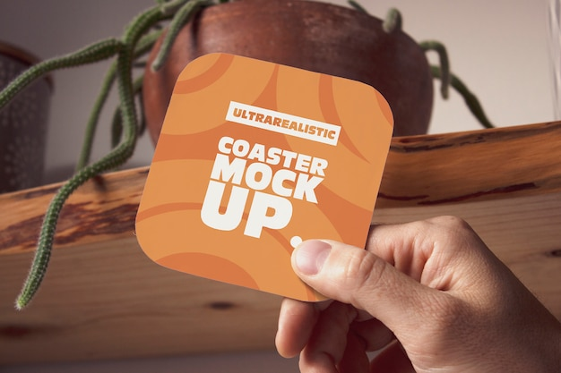Hand square coaster mockup Premium Psd