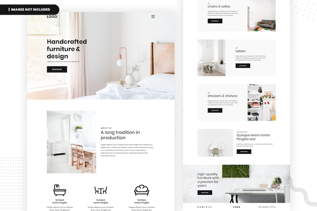 Handcrafted furniture website page Premium Psd