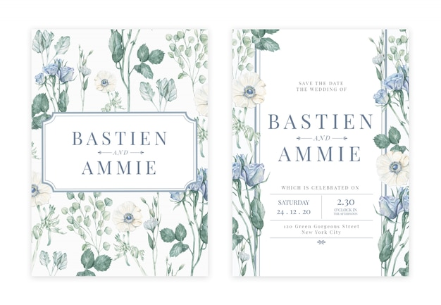 Handdrawn floral wedding invitation card Premium Psd