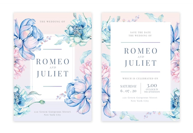 Handdrawn floral wedding invitation card Premium Psd