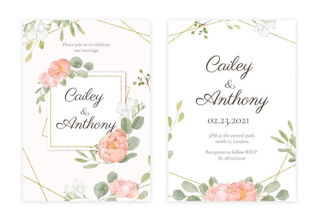 Handdrawn floral wedding invitation Premium Psd