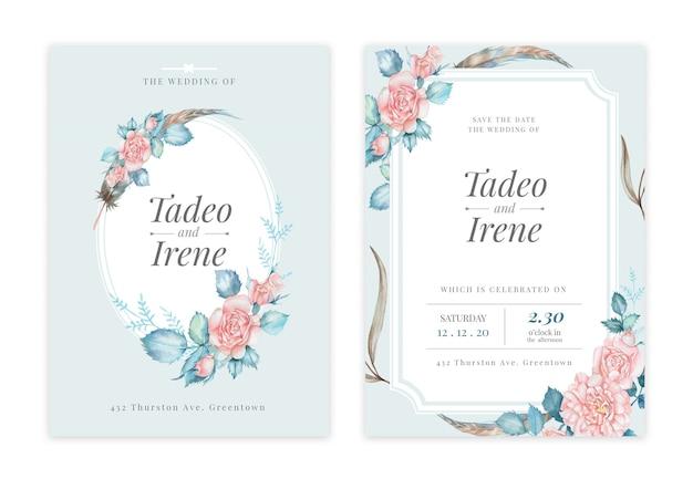 Handdrawn цветочные свадебные приглашения Premium Psd