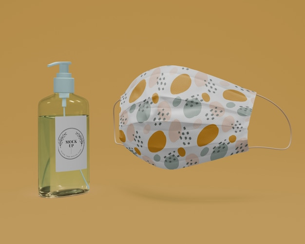Handmade face mask and hand sanitizer with mock-up Free Psd