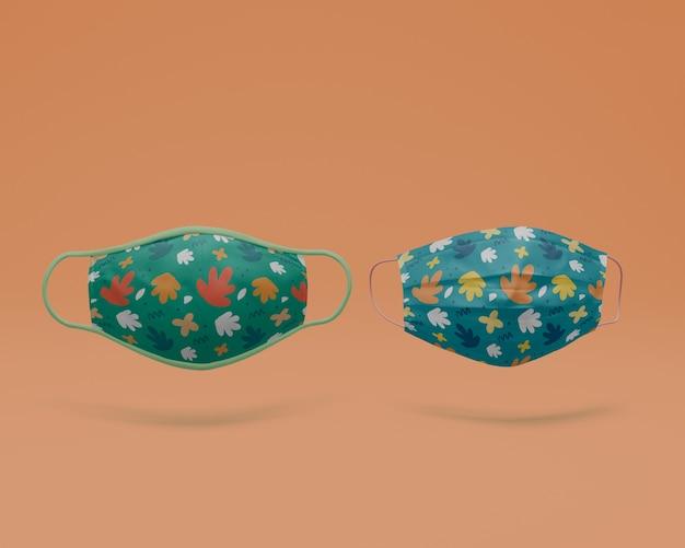Маски для лица ручной работы с концепцией макета Бесплатные Psd