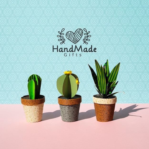 Handmade paper cacti with pots background Free Psd