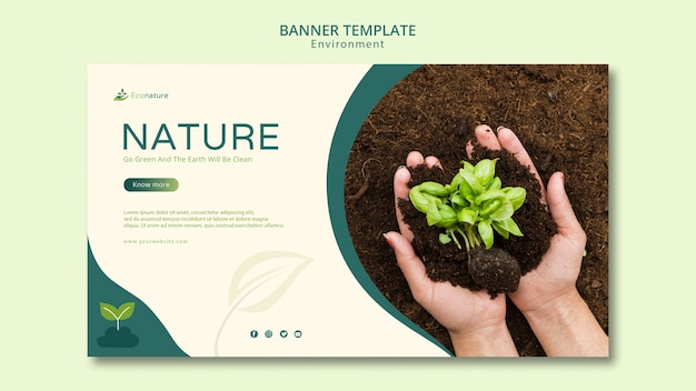 Hands holding seedlings banner template Free Psd