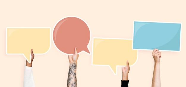 Hands holding speech bubble graphics Premium Psd