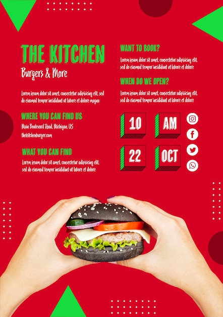 Hands holding tasty american burger Free Psd
