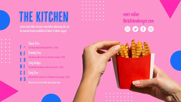 Hands picking french fries from paper box Free Psd