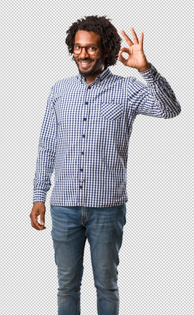 Handsome business african american man cheerful Premium Psd