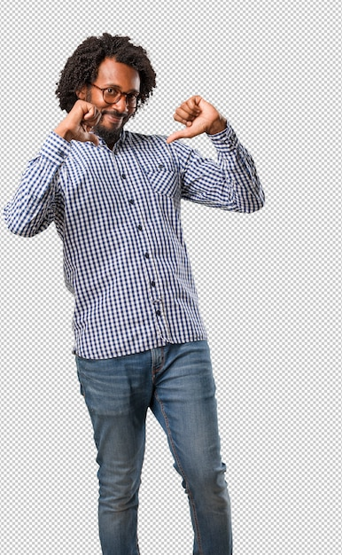 Handsome business african american man proud Premium Psd