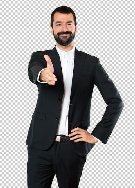 Handsome businessman making a deal Premium Psd