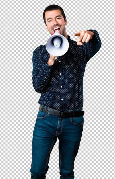 Handsome man holding a megaphone Premium Psd