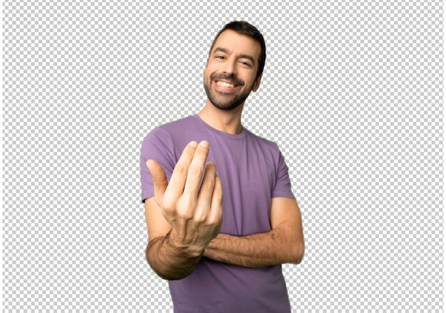 Handsome man inviting to come with hand. happy that you came Premium Psd