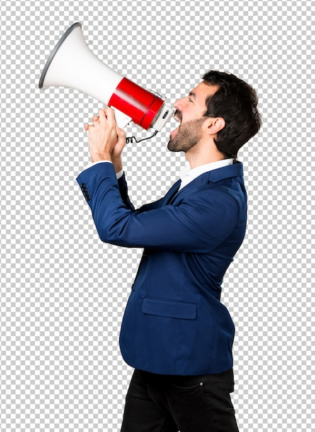 Handsome man shouting by megaphone Premium Psd