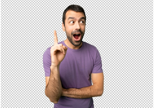 Handsome man thinking an idea pointing the finger up Premium Psd