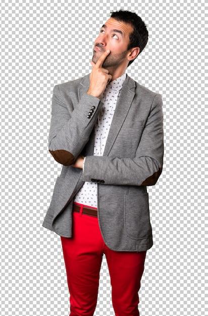Handsome man thinking Premium Psd