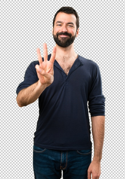 Handsome man with beard counting three Premium Psd