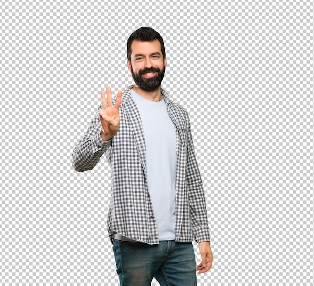 Handsome man with beard happy and counting three with fingers Premium Psd