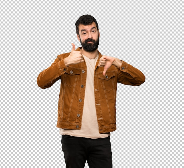 Handsome man with beard making good-bad sign. undecided between yes or not Premium Psd