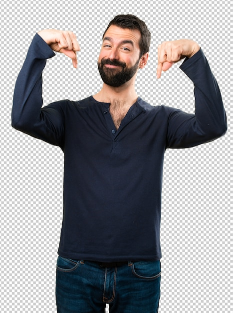 Handsome man with beard pointing down Premium Psd
