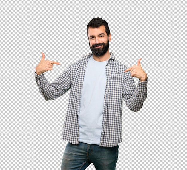 Handsome man with beard proud and self-satisfied Premium Psd