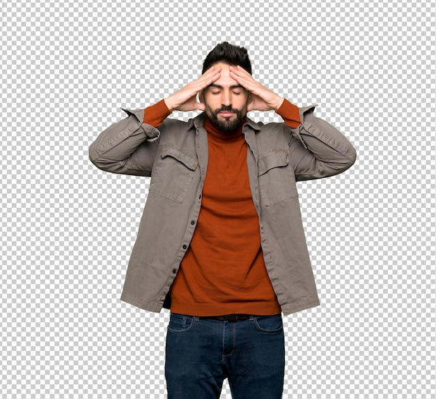 Handsome man with beard unhappy and frustrated with something Premium Psd