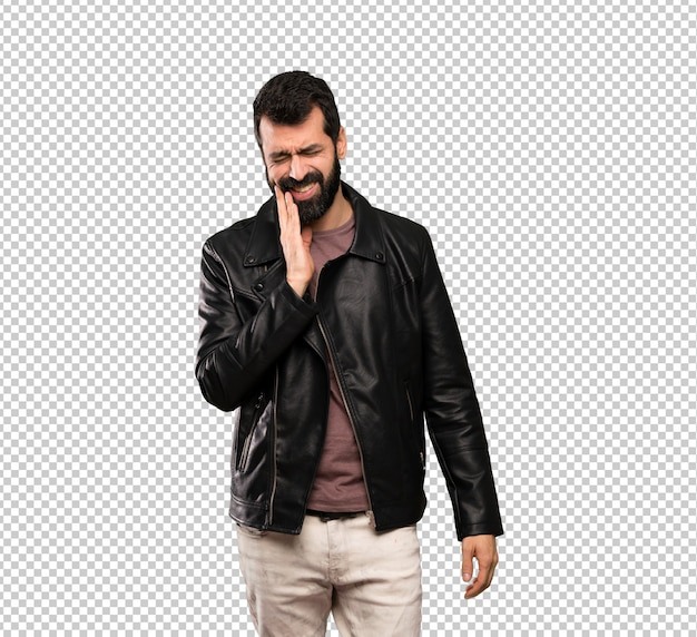 Handsome man with beard with toothache Premium Psd