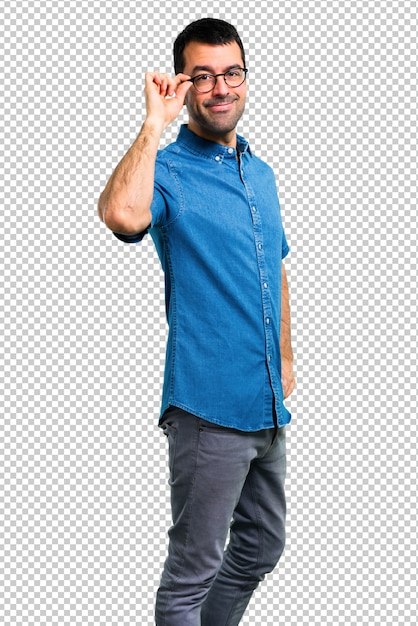Handsome man with blue shirt and glasses Premium Psd