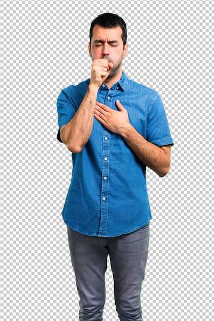 Handsome man with blue shirt is suffering with cough and