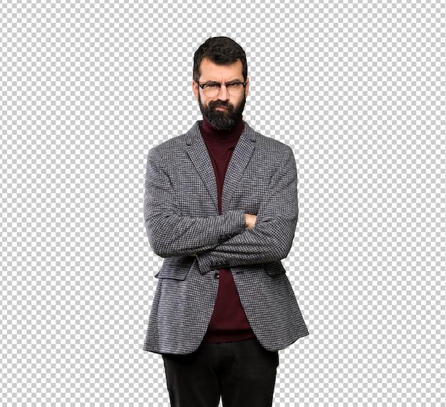 Handsome man with glasses feeling upset Premium Psd