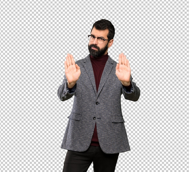Handsome man with glasses making stop gesture and disappointed Premium Psd