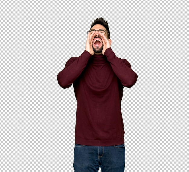 Handsome man with glasses shouting and announcing something Premium Psd