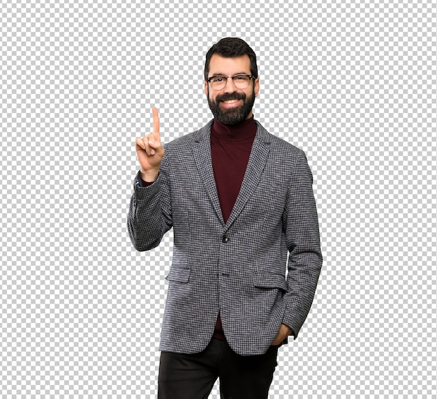 Handsome man with glasses showing and lifting a finger in sign of the best Premium Psd