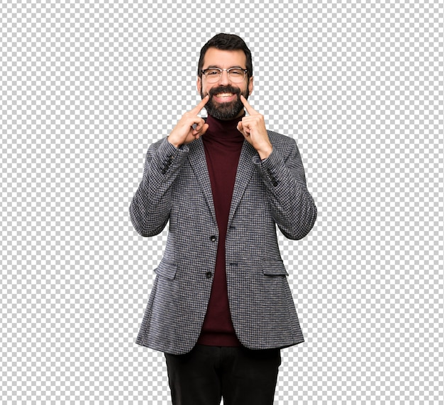 Handsome man with glasses smiling with a happy and pleasant expression Premium Psd