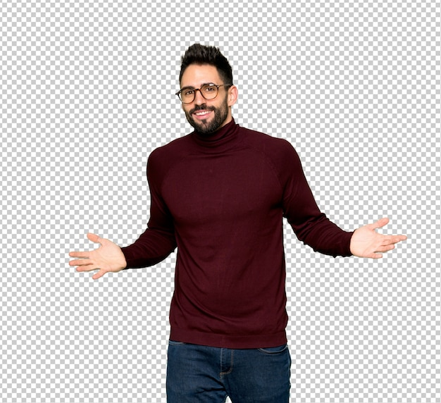 Handsome man with glasses smiling Premium Psd