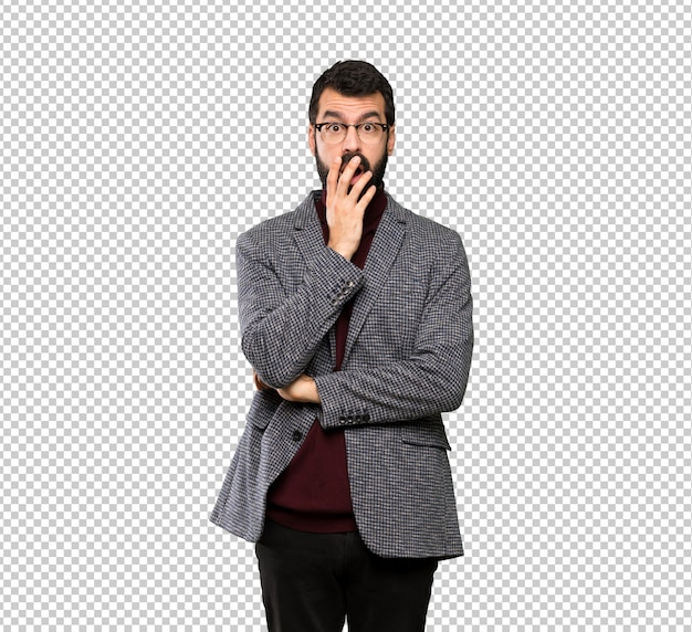 Handsome man with glasses surprised and shocked while looking right Premium Psd