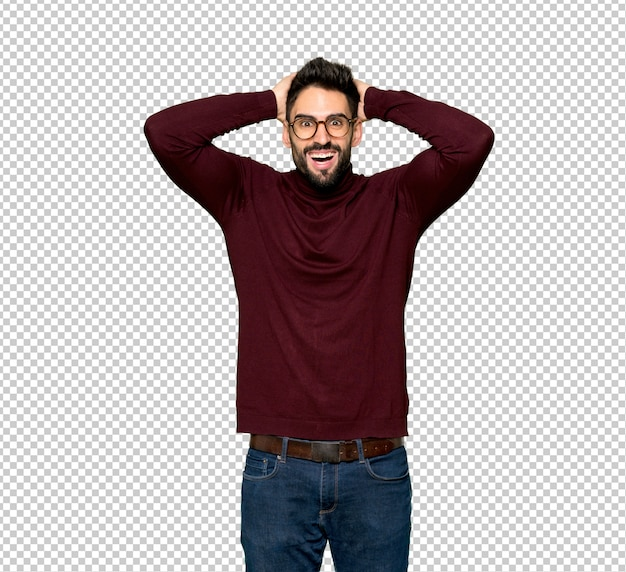 Handsome man with glasses takes hands on head because has migraine Premium Psd