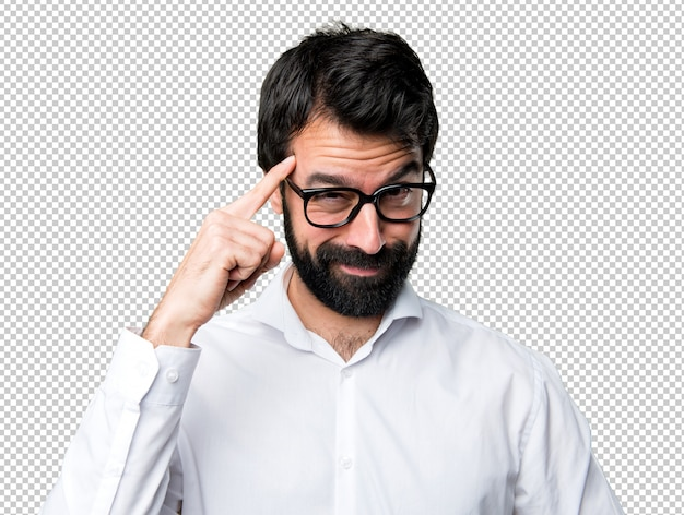 Handsome man with glasses thinking Premium Psd