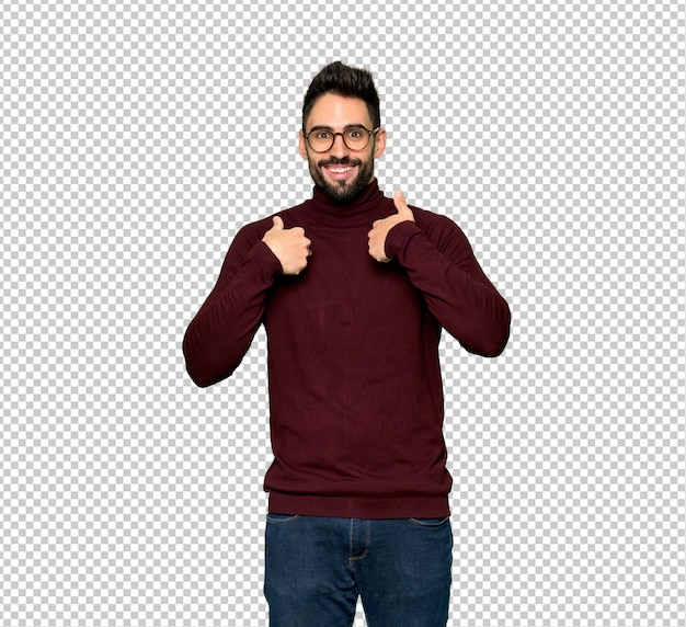 Handsome man with glasses with surprise facial expression Premium Psd