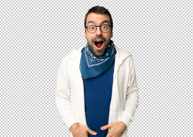 Handsome man with glasses with surprise and shocked facial expression Premium Psd