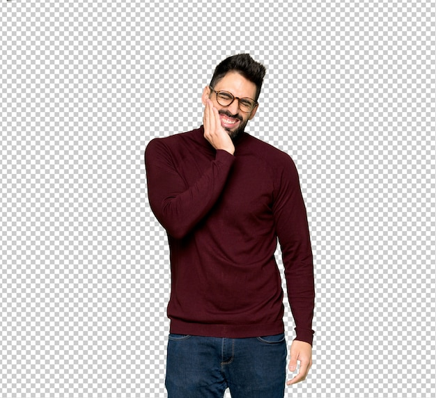 Handsome man with glasses with toothache Premium Psd