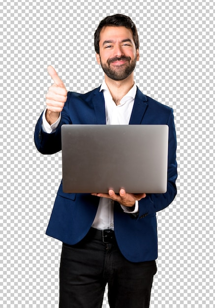 Handsome man with laptop Premium Psd