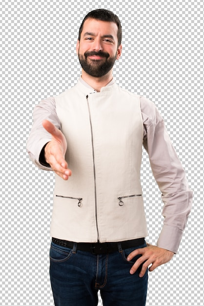 Handsome man with vest making a deal Premium Psd