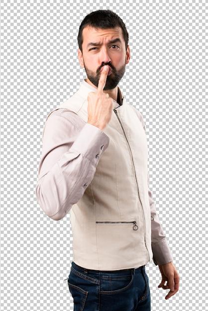 Handsome man with vest making horn gesture Premium Psd