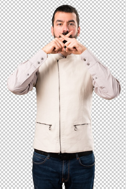 Handsome man with vest making silence gesture Premium Psd